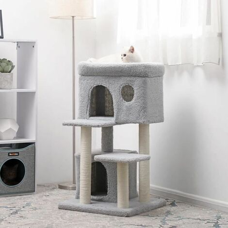 FEANDREA Cat Tree, Cat Tower with Large Viewing Perch, Cat Condo in Faux Fleece, Two Cuddle Caves, for Kittens and Old Cats, Posts Completely Wrapped in Sisal, Stable, Light Grey by SONGMICS PCT69W