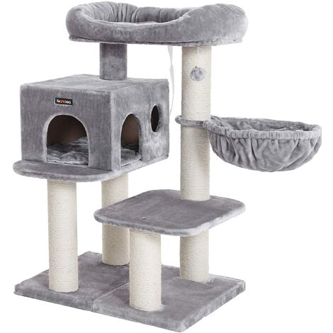 FEANDREA Cat Tree, Cat Tower with XXL Plush Perch, Basket Lounger and Large Cuddle Cave, Cat Condo with Adjustable Units, Cat Toys, Extra Thick Posts Completely Wrapped in Sisal, Stable