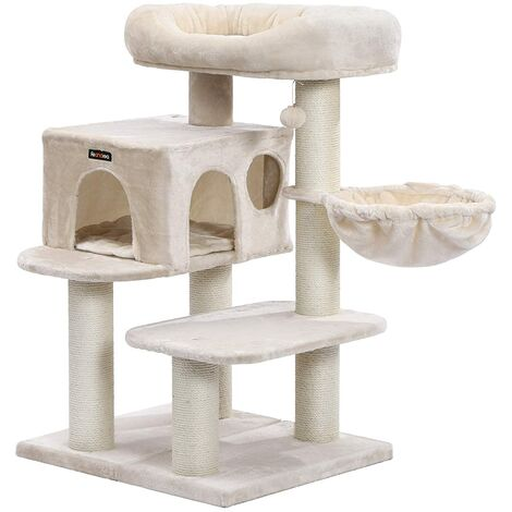 FEANDREA Cat Tree, Cat Tower with XXL Plush Perch, Basket Lounger and Large Cuddle Cave, Cat Condo with Adjustable Units, Cat Toys, Extra Thick Posts Completely Wrapped in Sisal, Stable, Beige, by SONGMICS, PCT01M