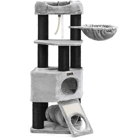 FEANDREA Cat Tree, Large Cat Tower with Fluffy Plush Perch, Cat Condo with Basket Lounger and Cuddle Cave, Extra Thick Posts Completely Wrapped in Black Sisal, Stable, Comfortable, Light Grey, by SONGMICS, PCT02W