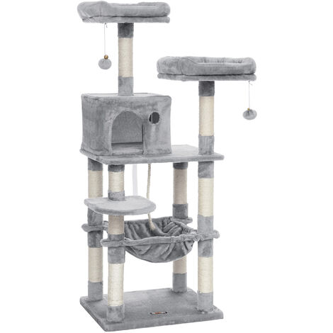FEANDREA Cat Tree, Stable Cat Tower with Cat Cave, 143cm, Light Grey by SONGMICS PCT15W