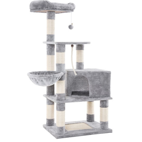 FEANDREA Cat Tree with Scratching Posts, Cat Tower with Condo and Basket, Kitten Furniture Activity Centre - Plush and Light Grey by SONGMICS PCT60H