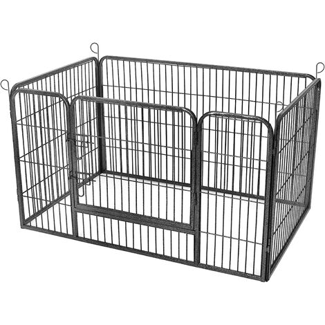 FEANDREA Dog Cage Crate Playpen Park Collapsible Pet Pen Metal Wire Panels Black/Grey
