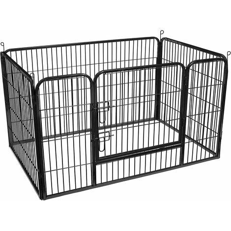 FEANDREA Enclos en métal pour chien, Parc pour chiot, rongeur et lapin, Pliable, Hauteur 70cm, avec Porte, Noir/Gris