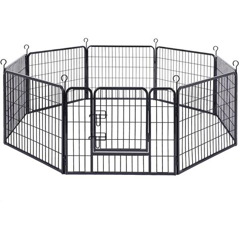 FEANDREA Enclos pour Chien, Parc pour Animal de Compagnie, 77x60 cm, Gris/Noir