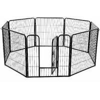 FEANDREA Heavy Duty Puppy Playpen Play Whelping Pen, 8 Panels XL 80 x 80cm Grey/Black
