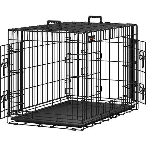 FEANDREA Jaula metálica para perro gato conejo Plegable Transportable 91 x 58 x 64cm Negro por SONGMICS PPD36H