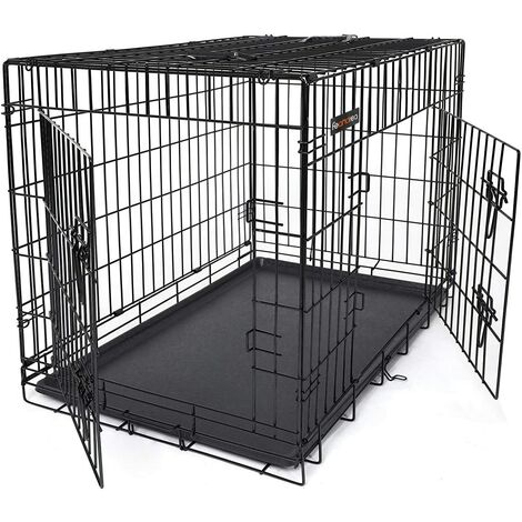 "main image of ""FEANDREA Jaula metálica para perro gato conejo Plegable Transportable 91 x 58 x 64cm Negro por SONGMICS PPD36H - Negro"""