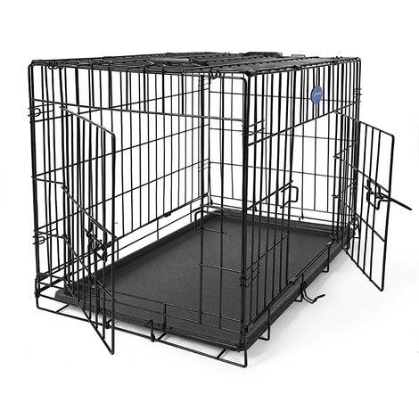FEANDREA Jaula metálica para perros Transportín plegable para mascotas (M 75 x 47 x 54cm) por SONGMICS PPD30H