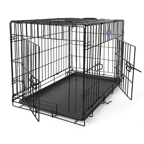 FEANDREA Jaula metálica para perros Transportín plegable para mascotas (M 75 x 47 x 54cm) por SONGMICS PPD30H - Negro