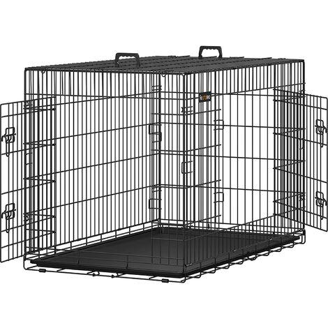 """main image of """"FEANDREA Jaula metálica para perros Transportín plegable para mascotas (XXL 122 x 76 x 81cm) por SONGMICS"""""""