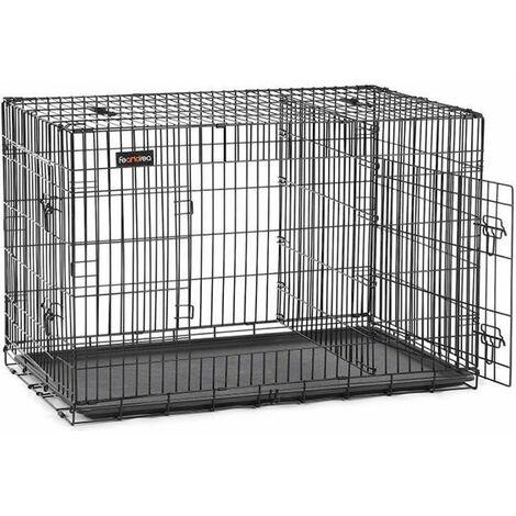 FEANDREA Jaula para Perros, Jaula para Mascotas con 2 Puertas, 122 x 74,5 x 80,5 cm, Negro por SONGMICS PPD48BK