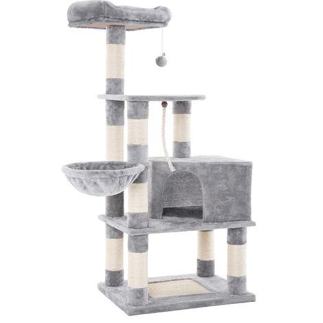 """main image of """"FEANDREA Katzenbaum mit Kratzbaum, 138cm, Kletterbaum für Katzen hoch, mit Höhle und Liegeflächen, in Hellgrau, von SONGMICS PCT60H - Hellgrau"""""""