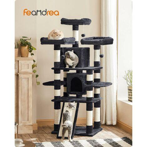 FEANDREA Kratzbaum groß, Katzenbaum mit 3 gemütlichen Aussichtsplattformen, Katzenspielzeug mit 2 Kuschelhöhlen, Dicke Sisalstämme,extra Kratzbrett, stabil, 172cm, RauchGrau, by SONGMICS, PCT18GYZ
