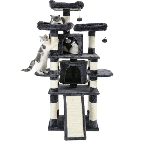 """main image of """"FEANDREA Kratzbaum groß, Katzenbaum mit 3 gemütlichen Aussichtsplattformen, Katzenspielzeug mit 2 Kuschelhöhlen, Dicke Sisalstämme,extra Kratzbrett, stabil, 172cm, RauchGrau, von SONGMICS, PCT18GYZ - RauchGrau"""""""