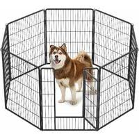 FEANDREA Luxe Parc 80 x 100cm Enclos pour Chiens Parc à Chiots Animaux de compagnie Gris/Noir