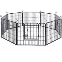 FEANDREA Luxe Parc 80 x 60cm Enclos pour Chiens Parc à Chiots Animaux de compagnie Gris/Noir