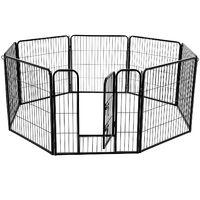 FEANDREA Luxe Parc 80 x 80cm Enclos pour Chiens Parc à Chiots Animaux de compagnie Gris/Noir