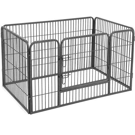 FEANDREA Luxe Parc pour chien 122 x 80 x 70cm enclos en fer pour animaux de compagnie amovible et transportable Parc à Chiots Gris/Noir