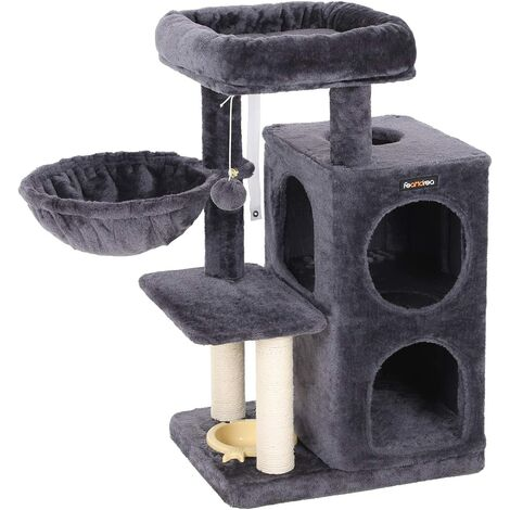 FEANDREA Multi-Level Cat Tree with Feeder Bowl, Sisal-Covered Scratching Posts, Dual Condo, Activity Centre Playhouse Cat Tower Furniture, Smoky Grey by SONGMICS PCT57G