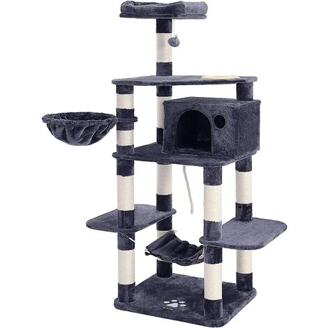 FEANDREA Multi-Level Cat Tree with Feeder Bowl, Sisal-Covered Scratching Posts, Hammock, Basket and Condo, Cat Furniture for Kittens, Large, 164cm, Smoky Grey by SONGMICS PCT99G
