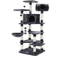 FEANDREA Multi-level Large Cat Tree Cat Furniture Cat Play House Smoky Grey by SONGMICS PCT17G