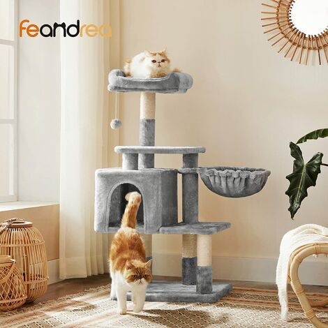FEANDREA Multilevel Cat Tree, 110cm Cat Tower, Light Grey Cat Condo by SONGMICS PCT52W