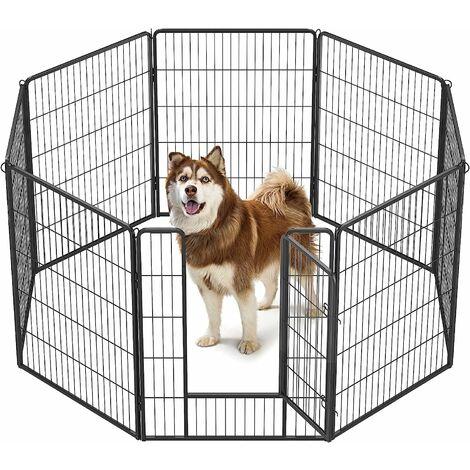 FEANDREA Parc pour Animaux, 8 Panneaux, Enclos pour Chien, 77x100cm, Gris/Noir