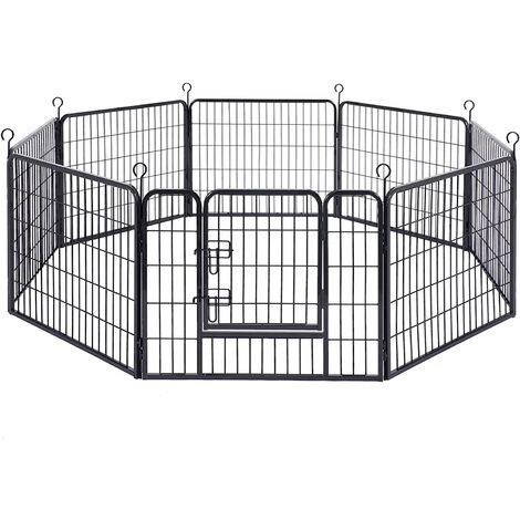 FEANDREA Parque para Mascotas, Jaula para Perros, Corral Plegable para Entrenamiento, 8 Piezas Combinables, 77 x 60 cm,Negro/Gris