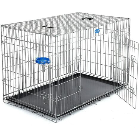 "FEANDREA XXL 48"" Dog Puppy Cage Foldable Metal Pet Carrier 2 Doors with Tray by SONGMICS Black/Silvery white"