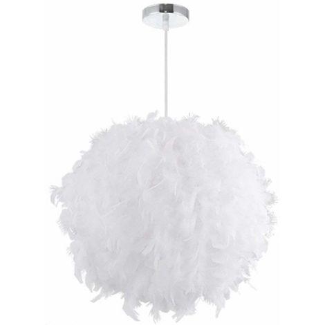 Feather Ceiling 30 cm Pendant Light Shade Modern Chandelier E27 Lampshade Floor Lamp for Living Room Dining Room Bedroom (White)