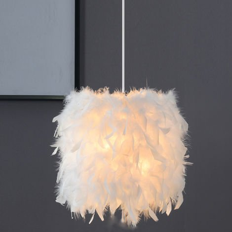 Feather Ceiling Pendant Light Shade Modern Nordic-Style 23cm Chandelier E27 Lampshade for Living Room Dining Room Bedroom (White)