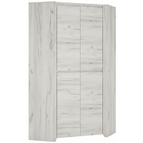 Feather Corner Fitted Bedroom Wardrobe With Hanging Rail And Adjustable Shelves