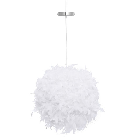 Feather Lampshade + Lampshade Holder for E27 Lamp Chandelier Lighting Home Decoration