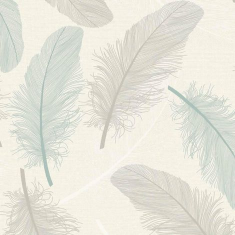 Feather Leaf Pattern Wallpaper Teal Cream Glitter Motif Embossed Metallic Holden