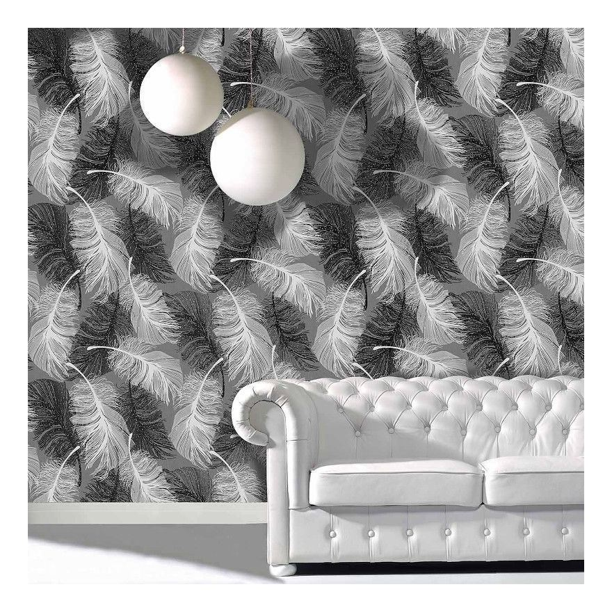 Image of Cwv Wallcoverings - Feather Wallpaper Glitter Effect Textured Monochrome Grey Black White