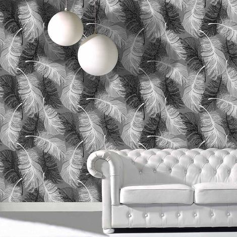 Feather Wallpaper Glitter Effect Textured Monochrome Grey Black White