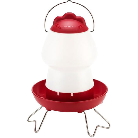 Feathers And Beaky Top Fill Chicken Drinker (2L) (Red/Transparent)