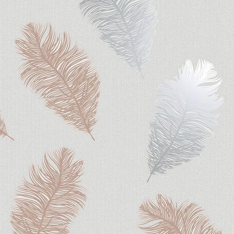 Feathers Wallpaper Glitter Metallic Rose Gold Silver Grey Textured Holden