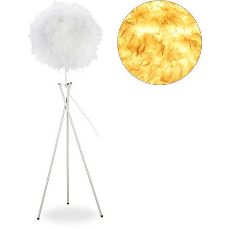 Federlampe, E27, einflammig, große Dreibein Lampe, runder Feder Schirm, Stehlampe HxBxT 156 x 48 x 42 cm, weiß