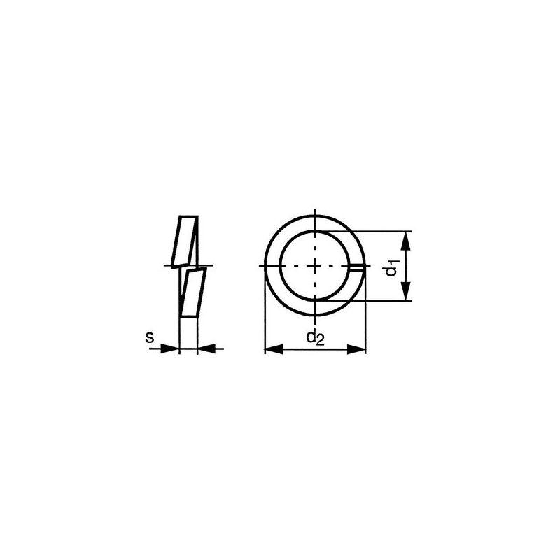 37060040001 Federringe M4 Federstahl gelb verzinkt DIN 127 B Querschnitt