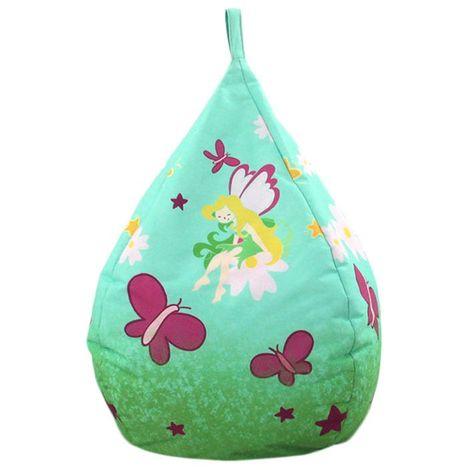 FÉE - <p>Pouf poire en suédine fabrication française thème fée multicolore 72x42</p> - Vert