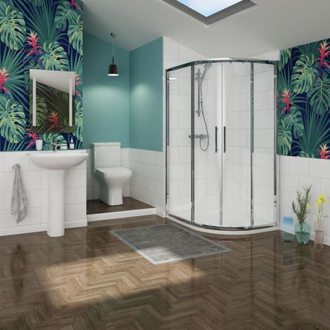 Feel Curved 1200mm Offset Quadrant RH Shower Enclosure Suite with Easy Clean Glass