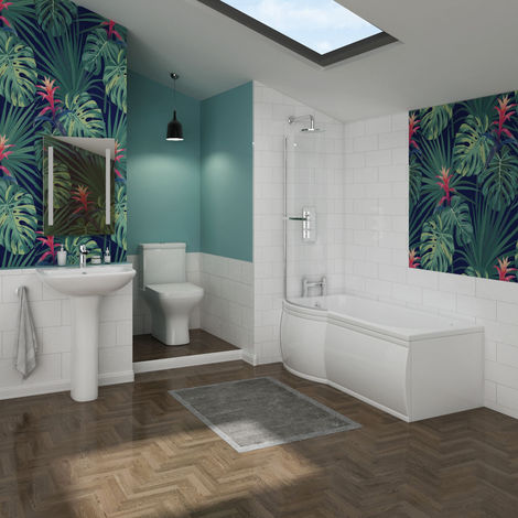 Feel Curved Bathroom Suite with Left Hand P Shape Shower Bath