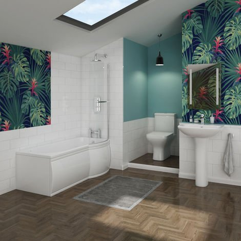 Feel Curved Bathroom Suite with Right Hand P Shape Shower Bath