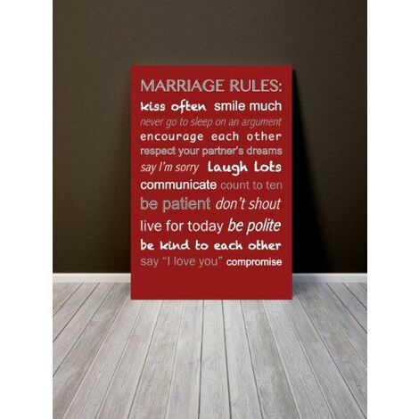 Feel Good Art 36 x 24 cm Toile décorative Marriage Rules Rouge