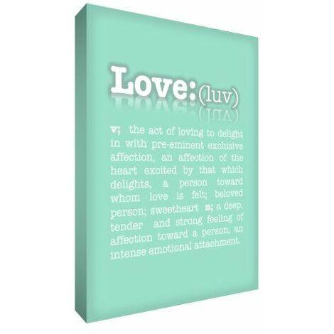 Feel Good Art 61 x 91 cm-Extra Large A1 Typographie moderne dictionnaire produit of Love Toile décorative sur châssis épais Vert menthe