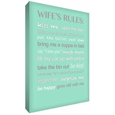 Feel Good Art Toile format A1 91,4 x 61 cm Motif Typographie moderne Wife\'s règles Toile décorative sur châssis épais Vert menthe