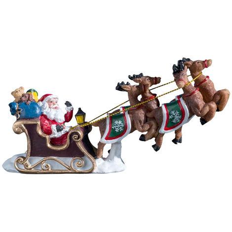 Feeric Christmas - Accessoire pour village de noël Père Noël sur son Traîneau L 15.5 cm