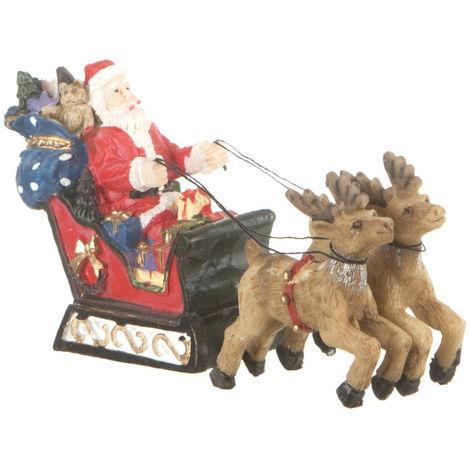 Feeric Christmas - Accessoire pour Village de Noël Père Noël sur son traîneau tiré par 2 rennes